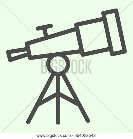 Telescope Line Icon. Astronomy Observe Planetarium Tool Outline Style Pictogram On White Background.