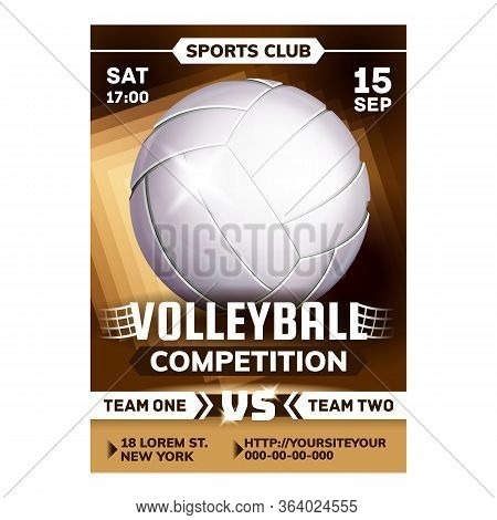Volleyball Sport Competition Leaflet Poster Vector. Playing Ball And Set On National Volleyball Matc