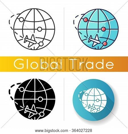 International Trade Icon. Export And Import, Logistics, Airmail And Parcels Delivery. Commerce, Trad