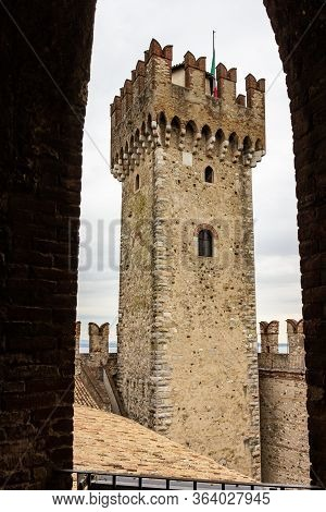 Sirmione, Italy, October 01, 2015 : View From The Loophole To The Corner Tower Of The Castello Scali