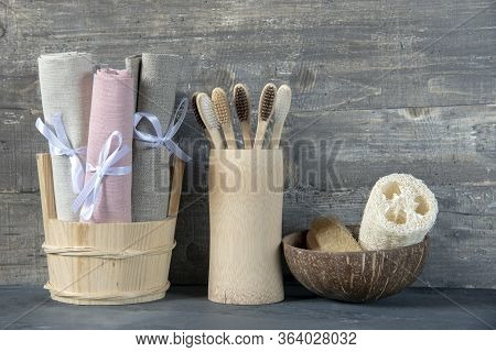 Eco-friendly Personal Hygiene Items Made Of Natural Materials.toothbrushes, Linen Towels, And Washcl