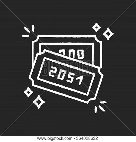 Raffle Chalk White Icon On Black Background. Lottery Winner Ticket With Numbers. Gambling Competitio