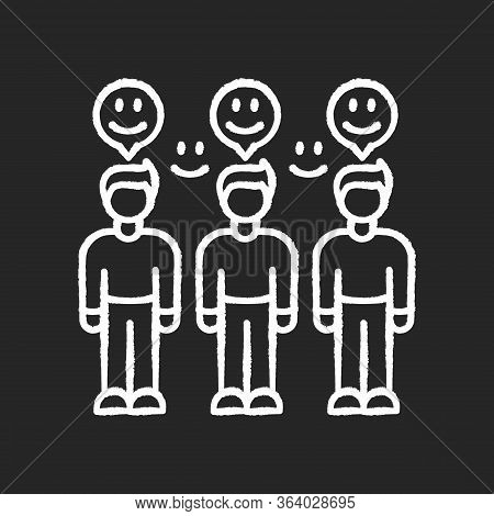 Loyal Audience Chalk White Icon On Black Background. Mass Positive Feedback. Client Satisfaction Rat