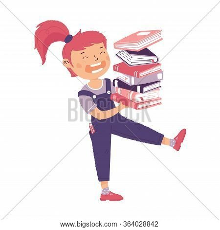 Girl Carries Stack Of Books. Female Character Holding Pile Of Book. The Concept Of Training, Educati