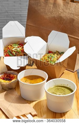 Healthy Lunch Menu, Restaurant Dish Delivery. Container With Take Away Food, In Eco Boxes. Copy Spac