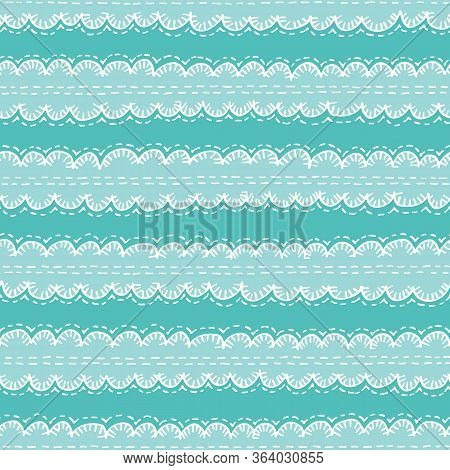 Colorful Aqua Boho Embroidery Needlework Vector Seamless Pattern. Hand Drawn Tribal Scalloped Edge S