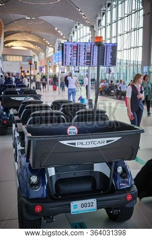 Istanbul / Turkey - September 14, 2019: Istanbul Airport Iga Buggy Service Electric Vehicle (mini Go