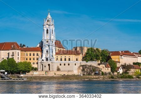 Duernstein Abbey Church Tower, A Baroque Blue And White Spire Or Steeple In The Wachau Valley, Austr