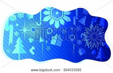Merry Christmas, Vector Illustration White Gear And Tree Cog Wheel Gift On Circuit Board, Hi-tech Di