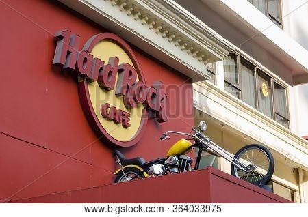 Kuala Lumpur, Malaysia - 7 January 2018: Hard Rock Cafe And Motorbike Display. Hard Rock Cafe Is An