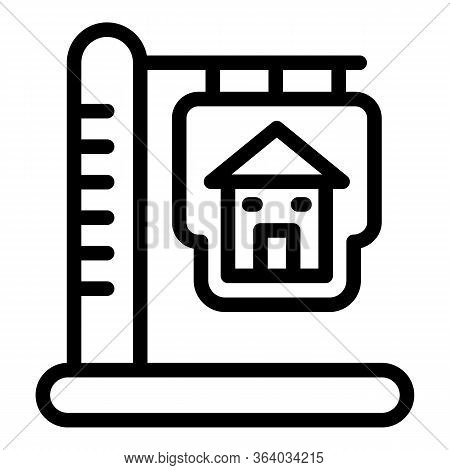 Sign Of A House On A Pillar Icon. Outline Sign Of A House On A Pillar Vector Icon For Web Design Iso