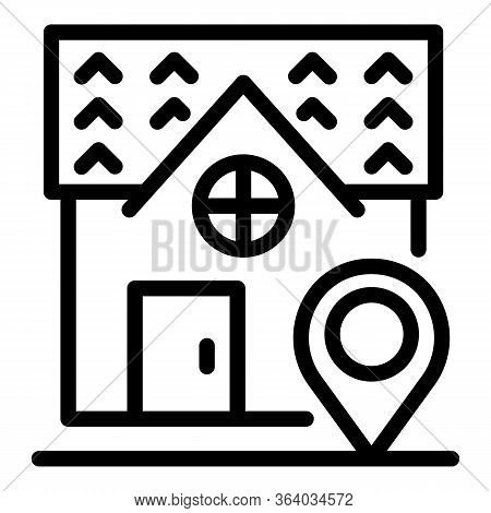 House And Geo Tag Icon. Outline House And Geo Tag Vector Icon For Web Design Isolated On White Backg