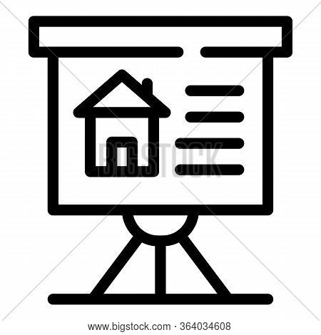 The House Is On A Flipchart Icon. Outline The House Is On A Flipchart Vector Icon For Web Design Iso