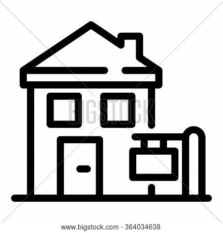 A Small House Icon. Outline A Small House Vector Icon For Web Design Isolated On White Background