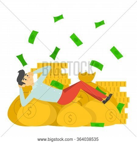 Happy Rich Man Lying On The Money Bags