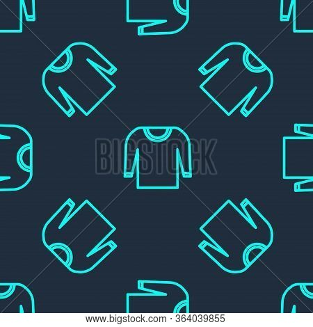 Green Line Sweater Icon Isolated Seamless Pattern On Blue Background. Pullover Icon. Vector Illustra