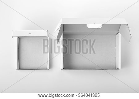 Opened White Cardboard Packaging Box, Top View