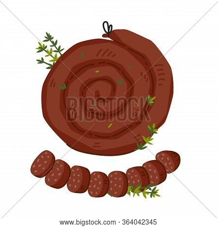 Spiral Sausage. Meat Delicatessen On White Background. Slices Of Traditional Snail Sausage. Simple F