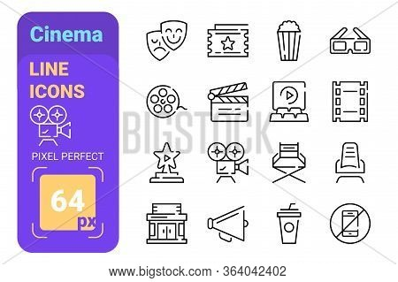 Theater And Cinema Line Icons Set Vector Illustration. Collection Contains Movie Tv Popcorn Video Cl