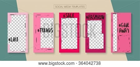 Social Stories Cool Vector Layout. Blogger Simple Frame, Social Media Kit Template. Funky Sale, New