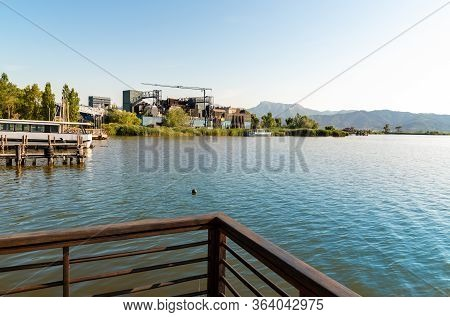 Landscape Of Lake Massaciuccoli With The Open-air Giacomo Puccini Grand Theater, Located In Torre De
