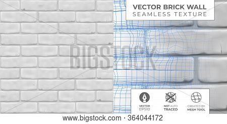 Vector White Brickwall Pattern For Design Exterior, Interior, 3d. Horizontal Seamless Brick Texture