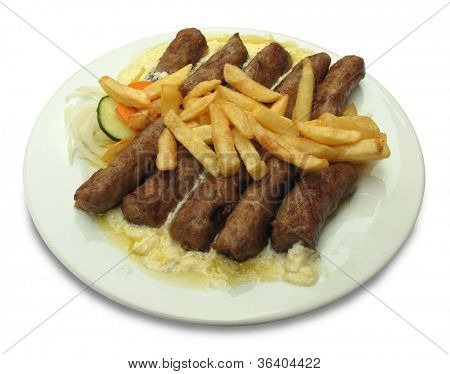 Grilled dish of minced meat called cevapcici poster