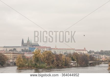 Panorama Of The Old Town Of Prague, Czech Republic, With A Focus On Charles Bridge (karluv Most)  An