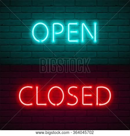 Open Closed Lettering With Bright Neon Glow On Dark Brick Wall Background. Vector Illustration Typog