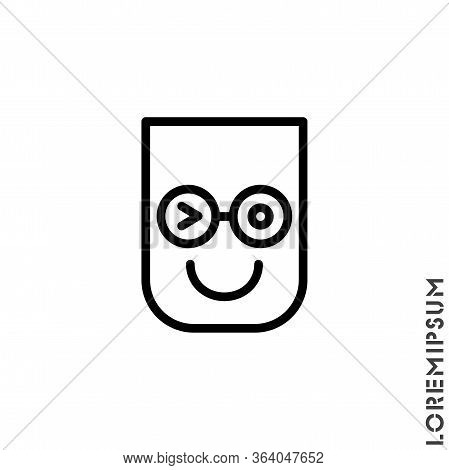 Winking Line. Thin Line Smile Emoticons Isolated On A White Background. Vector Illustration. Wink Ic