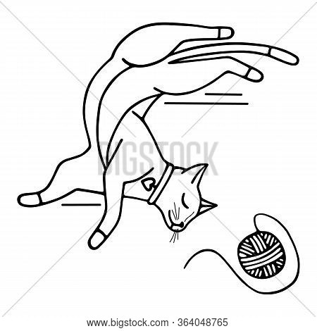 Hand-drawn Vector Illustration. Cute Doodle Cat Sleeping On His Back With A Ball Of Thread Black Lin