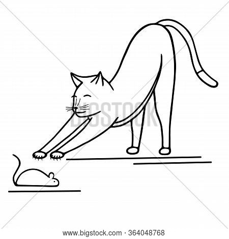 Hand-drawn Vector Illustration. Cute Doodle Cat Reaches For The Mouse Black Line On White Background