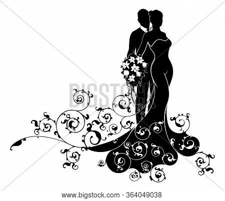Wedding Couple Bride And Groom Husband And Wife In Silhouette, The Bride In A Bridal Wedding Dress G