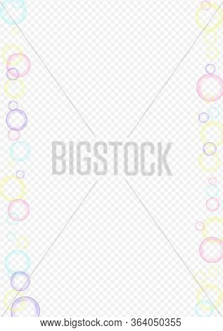 Rainbow Soapy Effect Transparent Background. Realistic Round Sphere Card. White Water Soapy Ball Tex