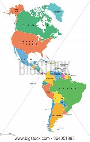 The Americas, Single States, Political Map With National Borders. Caribbean, North, Central And Sout
