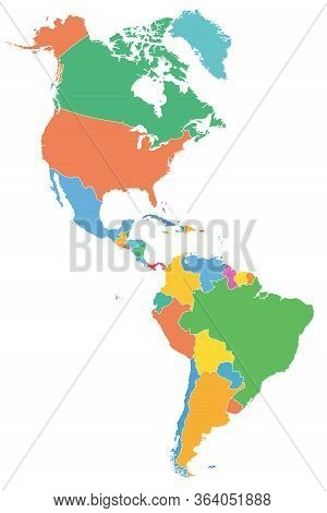 The Americas, Political Map With Single States In Different Colors. Countries Of The Caribbean, Of N