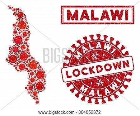 Coronavirus Collage Malawi Map And Seals. Red Round Lockdown Textured Stamp. Vector Coronavirus Path