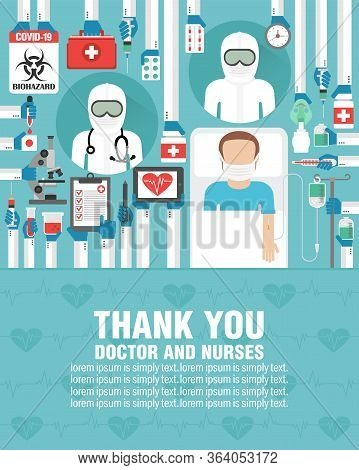 Medical Flat Design. Thank You Doctor And Nurses. Covid-19 Pandemic. Lorem Ipsum Is Simply Text. Vec