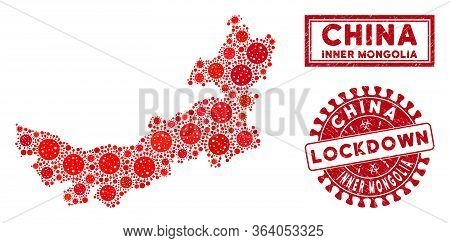 Covid-2019 Virus Collage Chinese Inner Mongolia Map And Seals. Red Round Lockdown Grunge Watermark.