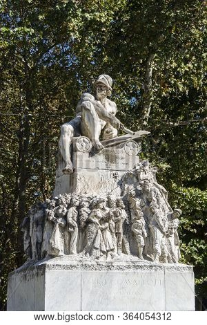 Milan, Italy, October 2016 - Monument To Felice Cavallotti In The Ancient City Of Milan, Italy