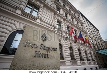 Prague, Czechia - November 3, 2019: Four Seasons Logo On Their Main Hotel In Prague. Four Seasons  I