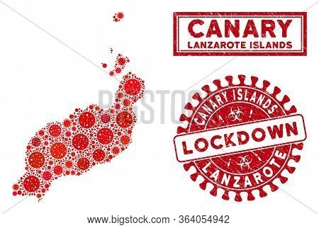 Covid-2019 Virus Collage Lanzarote Islands Map And Seal Stamps. Red Rounded Lockdown Distress Stamp.