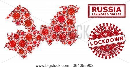 Covid-2019 Virus Mosaic Leningrad Oblast Map And Seal Stamps. Red Rounded Lockdown Distress Seal. Ve