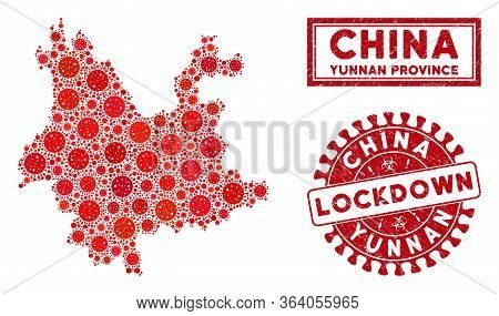 Covid-2019 Virus Collage Yunnan Province Map And Watermarks. Red Round Lockdown Grunge Seal Stamp. V