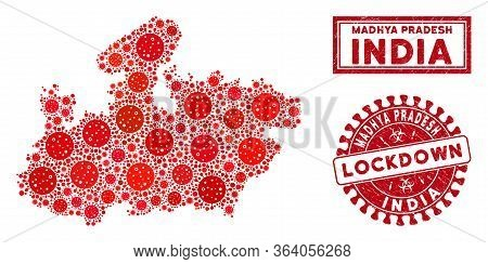 Covid-2019 Virus Collage Madhya Pradesh State Map And Watermarks. Red Round Lockdown Scratched Seal.