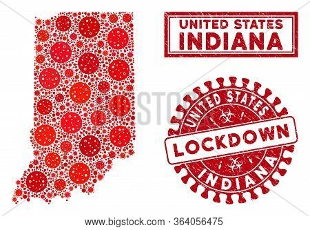 Flu Virus Collage Indiana State Map And Rubber Prints. Red Round Lockdown Grunge Stamp. Vector Coron