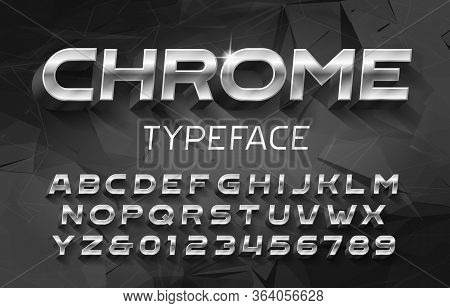 Chrome Alphabet Font. 3d Metal Effect Letters And Numbers With Shadow. Abstract Background. Stock Ve