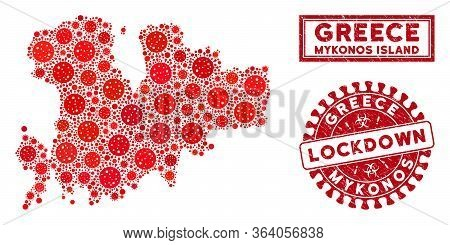 Covid-2019 Virus Mosaic Mykonos Island Map And Seal Stamps. Red Round Lockdown Textured Seal Stamp.