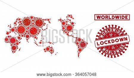 Covid-2019 Virus Collage Worldwide Map And Rubber Prints. Red Round Lockdown Scratched Stamp. Vector