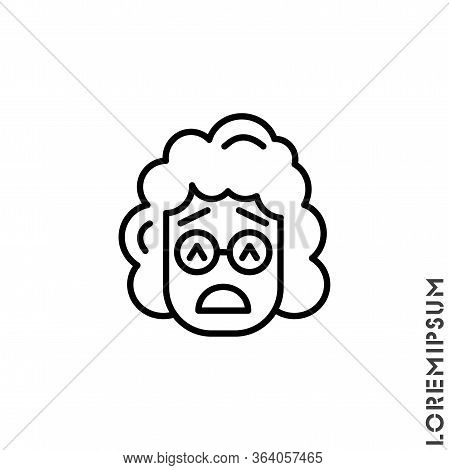 Sad Give Up Tired Emoticon Girl, Woman Icon Vector Illustration. Outline Style. Very Sad Cry Stressf